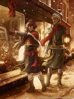 Commissioned for of Soma and Agni from Kuroshitsuji/Black Butler. Merry Christmas and Happy Holidays. By keelerleah.deviantart.com