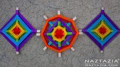 Knitting Patterns Cocoon DIY Tutorial – Yarn Decoration Inspired by Ancient Ojo de Dios Mandala Folk Art (God's Eye) Yarn Crafts, Diy And Crafts, Crafts For Kids, Paper Crafts, Eye Mandala, Mandala Dots, God's Eye Craft, Crochet Prayer Shawls, Wall Hanging Crafts