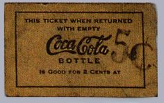 Turn of the Century Deposit Ticket for one Bottle of Coca-Cola, c.1903