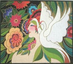 """Laurel Burch """"The Swan Goddess"""" large handpainted Needlepoint Canvas Danji. Laurel Burch Design featuring aBeautifully Painted Swan Goddess with 2 gorgeous White Swans and a multitude of Floral features surrounding them. Laurel Burch, Needlepoint Canvases, Swan, Hand Painted, Embroidery, Wallpaper, Floral, Pretty, Painting"""