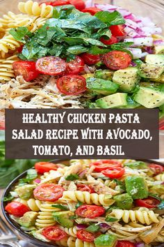Healthy Chicken Pasta Salad – Packed with flavor, protein and veggies! This healthy chicken pasta salad is loaded with tomatoes, avocado, and fresh basil. If you're looking for a nutrit… Chicken Pasta Salad Recipes, Healthy Chicken Pasta, Beef Recipes, Cooking Recipes, Healthy Recipes, Simple Recipes, Potato Recipes, Delicious Recipes, Healthy Food