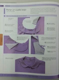 Tipos de cuellos. La biblia de la costura. Sewing Basics, Sewing Hacks, Sewing Tutorials, Sewing Pockets, Sewing Elastic, Shirt Collar Pattern, Traditional Dresses Designs, Sewing Collars, Couture Sewing Techniques