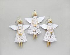 Bianco Natale angeli ornamenti di Natale di di VasilinkaStore