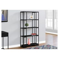 Bookcase - Black, Black Metal - EveryRoom