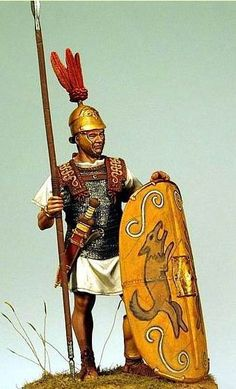 Polybian triarius. Triarii were the veteran reserve and last line of defense. Typically the wealthiest and oldest men, triarii were well-equipped with gladii (swords), heavy plate armor or chain mail breastplates, 6.5' long hastae (spears) and rectangular scuta (shields).