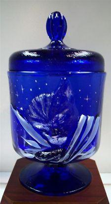 Fenton Chessie Cat Jar w Lid Candy Dish COBALT BLUE Starligh…