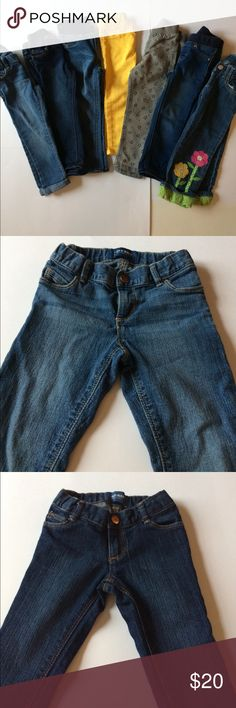 3T jeans. Button closure & elastic waistband 7 pairs of jeans. Old Navy, Target and Gymboree brands.  Two pairs have button closure and elastic extension waistbands. One pair (with flower design) just has button closure. Four pairs have elastic waistbands. One pair has a little wear on the cuff of the jeans. All still good condition. All 3T in size. Bottoms Jeans