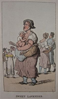 """""""Sweet Lavender"""" from """"Characteristic Sketches of the Lower Orders"""" by Thomas Rowlandson (1820)"""