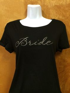 Rhinestone Bling Bride in Script Wedding Shirt S M L XL XXL Custom NWT