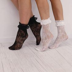 Tulle socks for dress Stretch lace black white socks Black And White Socks, Black Laces, Black Boots, Black White, Frilly Socks, Lace Socks, Body Sock, Badass Style, Stretch Lace