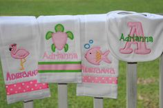 I wanna learn how to make these!!!!    Personalized Baby Girl Set 4 piece set bib and burp clothes Monogrammed Shower Gift. $26.00, via Etsy.