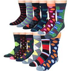 Frenchic Men's Premium Cotton Blend Colorful Patterned Dress Socks