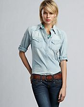 Love the 2 toned denim combo...i want this shirt..Lucky Brand