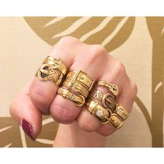 Classic antique and vintage gold buckle rings. Only at Isadoras.com.