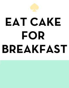 Eat Cake for Breakfast - Kate Spade Inspired Art Print by Rachel Additon | Society6 | We Heart It