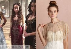 Lola (Anna Popplewell) wears this beaded beige tulle capelet in this week's episode of Reign.