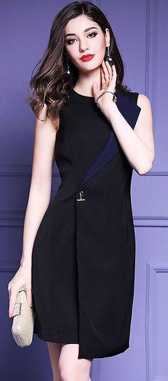 Fashion O-Neck Sleeveless Asymmetric Slim Dress