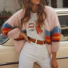 Shop fashion casual color striped long sleeve knit cardigans online with high quality and hurry to get fashion on kosechili com quickly Cardigan Casual, Cardigan Fashion, Striped Cardigan, Sweater Cardigan, Striped Knit, Rainbow Cardigan, Long Knit Cardigan, Comfy Sweater, Hooded Cardigan