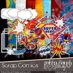 Comic Book Digital Scrapbook Kit Clipart - Super Hero Scrap Comics