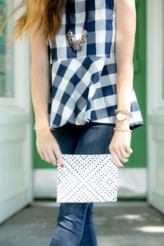 Learn how to wear peplum on Art in the Find, how-to-wear-a-peplum-top, anthropologie, gingham-top, peplum-top,