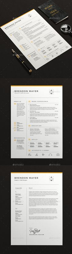 Clean Resume Word - #Resumes Stationery Download here: https://graphicriver.net/item/resume/18528474?ref=classicdesignp