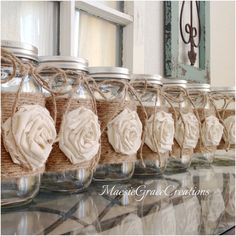 Set of 16 RUSTIC WEDDING Centerpieces Jute Wrapped Quart Mason Jars with Rosette and Jute Bow