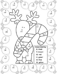 Fun Christmas themed color by number sheets (basic addition facts).