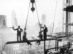 Rockefeller Center under construction in 1932. Lunch time.