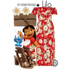 Lilo + by leslieakay on Polyvore featuring River Island, LULUS, Lydell NYC, disney, disneybound and plussize