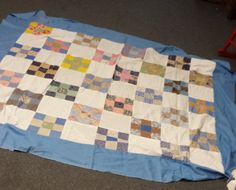 CJ vintage quilt top multi color 9patch with blue by sweetRdays, $55.00