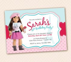 Grace Girl Doll Of The Year 2015 Birthday Or Party Invitation French