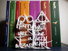 Custom Book ends from the amazing Harry Potter series, Each book end consists of a famous quote from the first and last book. Incorporating the