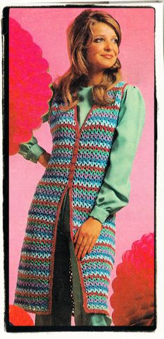 Instant Download PDF Seventies CROCHET PATTERN to make a Knee Length Long Sleeveless Cardigan Festival Maxi Vest