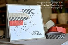 Stampin' Up ideas and supplies from Vicky at Crafting Clare's Paper Moments: Three Minute masculine washi tape card