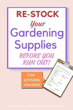 Did you run out again!? Problems keeping your gardening supplies in stock? Know exactly what you need and get the free checklist so you never run out again. #gardensupplies #gardeningsupplies #gardenshed Gardening Supplies, Gardening Tools, Vegetable Gardening, Take Out Containers, Garden Labels, Fertilizer For Plants, Plant Supports, Garden Maintenance, Run Out