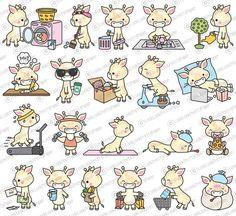 Cute Animal Drawings, Kawaii Drawings, Cute Drawings, Kawaii Doodles, Cute Doodles, Cute Clipart, Vector Clipart, Giraffe Drawing, Cute Giraffe