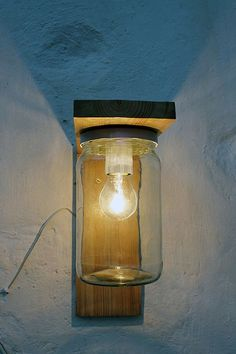 Wall lamp in wood and reclaimed jar. Wood and glass Candle Sconces, Wall Sconces, Front Porch Seating, Recycled Lamp, Balcony Lighting, Handmade Lamps, Garden Lamps, Bedside Table Lamps, Wood Lamps