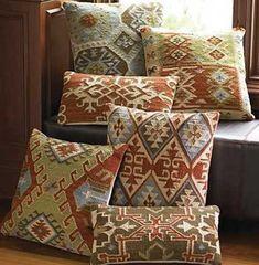 decorative pillows made of kilim textiles