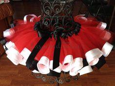 Custom Red Black White Birthday Tutu - Ribbon Edged Tutu- Birthday Party- Photo prop on Etsy, $45.00