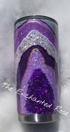If you really want to make a glittery statement, look no further. This tumbler is stunning with different shades of purple glittery and varying textures. If you love all things purple and bling, this is for you! My tumblers are crafted with all kinds of fun materials! I use paint, glitter, vinyl,