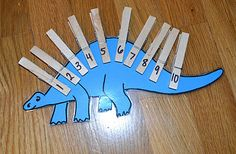 Preschool counting activities - this would be great to put numbers and letters in order . and this could be something they could do independently at a station! For older kids could do the name of the dinosaur and they spell it. Dinosaur Theme Preschool, Dinosaur Activities, Counting Activities, Preschool Themes, Preschool Classroom, Preschool Learning, Classroom Activities, In Kindergarten, Preschool Crafts