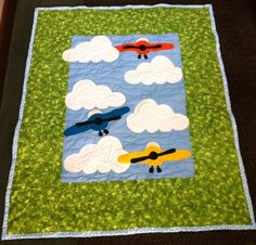 AIRPLANES!  46x56 Appliqued, free motion quilted. Made 4. SOLD!  Jenn-Alabama