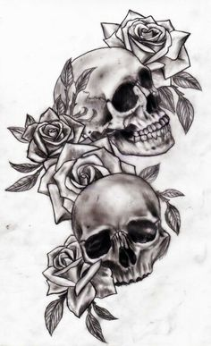 "Skull and rose tattoo classic ... I love this i want this on my back right below my ""live laugh love"" tattoo! ...or something similar..... :)"