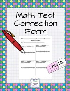This form allows for students to correct any test errors and reflect on why it was incorrect and describe how to correct the solution.Great for assessments that have multiple versions for students to retake that assessment.It was originally designed for reflecting on math test corrections, but based on the layout, it could be used for other subjects' test depending on the test format.