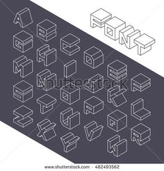 Vector illustration in line style Tattoo Lettering Alphabet, Typography Alphabet, Hand Lettering Fonts, Alphabet Art, Word Design, Text Design, Fonte Alphabet, Isometric Art, Font Setting