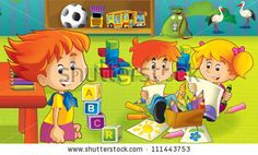The cartoon kindergarten - fun and play - illustration for the children 4