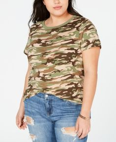 8253a0ddce No Comment Trendy Plus Size Camo T-Shirt - Green 2X Trendy Plus Size,