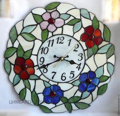 """Часы для дома ручной работы. Ярмарка Мастеров - ручная работа. Купить Витражные часы """"Цветочные"""". Handmade. Разноцветный, часы настенные"""