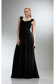 A Line Empire Waist Cap Sleeve Long Black Chiffon Formal Event Prom Dress