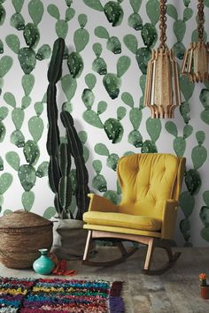 Opuntia Cactus Cacti Removable Wallpaper | Watercolor wall mural – Peel & Stick
